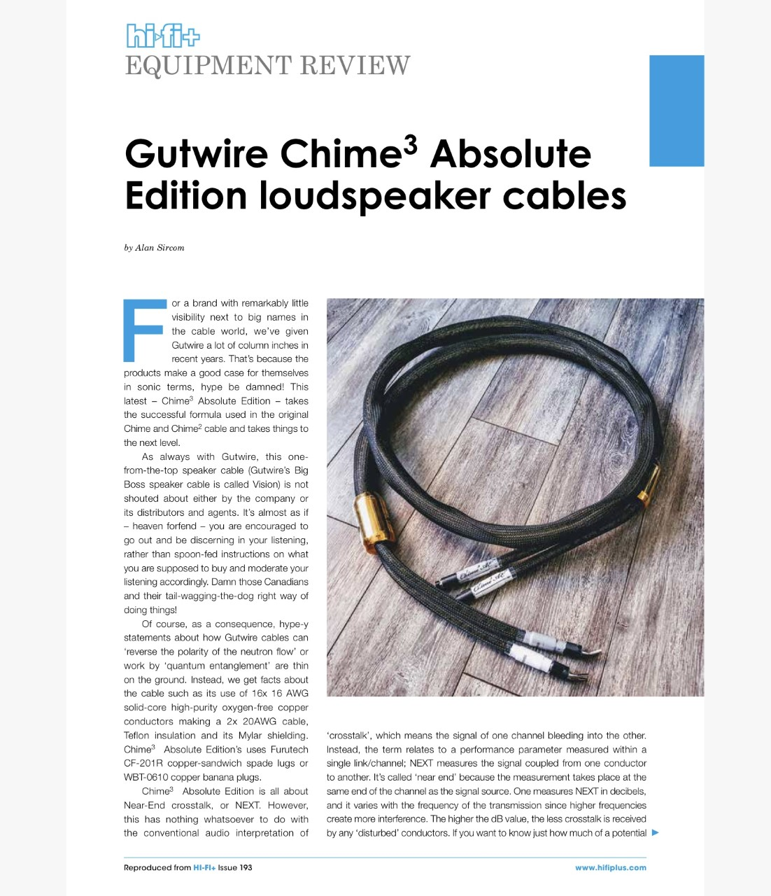 HIFI+193 Chime 3 AE Speaker Cable Review (2)